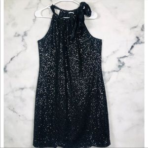 NEW T Tahari Black Sequin Ilana Dress